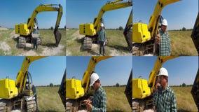 Quem vigiou a montagem do encanamento do cuidado da escavação video estoque