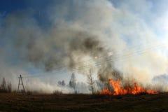 Quema de la paja en el humo del campo, fuego fotos de archivo libres de regalías
