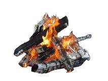 Quema de los registros del fuego de la llama Imágenes de archivo libres de regalías