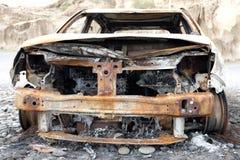 Quemado abajo de ruina del coche Imágenes de archivo libres de regalías