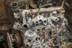 Quemado abajo del motor oxidado Fotografía de archivo libre de regalías