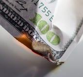 Quemadura de 100 USD Foto de archivo