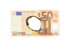 Quemadura euro Imágenes de archivo libres de regalías
