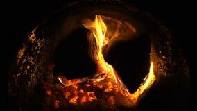 Quemadura grande de los firewoods del abedul en la caldera metrajes