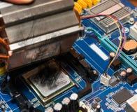 Queme abajo la CPU Imágenes de archivo libres de regalías