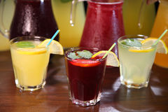 Quenching thirst and refreshing drinks. Cold lemonades. Lemonade. Morse. Compote. Royalty Free Stock Photography
