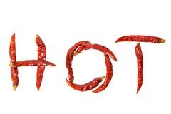 quente Palavra com o isolado encarnado secado da pimenta de pimentão no fundo branco Fotografia de Stock