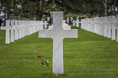 Quentin Roosevelt War Grave, Omaha Beach. Quentin Roosevelt was the youngest son of President Theodore Roosevelt and First Lady Edith Roosevelt. Family and Royalty Free Stock Photo