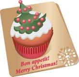 Queque com árvore de Natal Imagem do vetor Fotografia de Stock