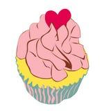 Queque com coração do amor ilustração royalty free