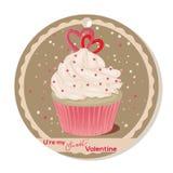 Queque com corações do creme e do açúcar da baunilha para o dia de Valentim Cartão, etiqueta ou etiqueta para o Valentim doce ilustração royalty free