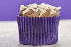 Queque com creme da manteiga do chocolate fotografia de stock royalty free