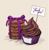 Queque com creme do chocolate e pilha de cookies marrons com fita violeta, ilustração ilustração stock