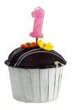 Queque com vela do aniversário para o um anos de idade Fotografia de Stock Royalty Free