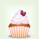 Queque cremoso cor-de-rosa delicioso de Yammy com doces e bagas da framboesa Foto de Stock Royalty Free