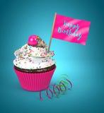queque 3d com a bandeira do feliz aniversario Imagem de Stock Royalty Free