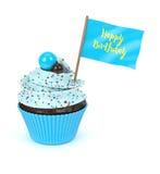 queque 3d doce com a bandeira do feliz aniversario Fotos de Stock Royalty Free