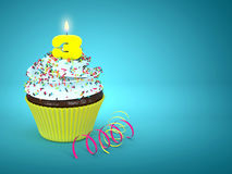 queque 3d doce com número 3 velas sobre o azul Fotografia de Stock Royalty Free