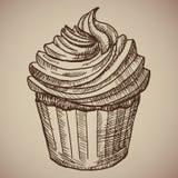 Queque da gravura Bolo de chocolate doce para o café da manhã Imagem de Stock