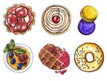 Queque da morango e da cereja, bolinhos de amêndoa, filhós da baunilha, creme brulée, waffle belga com doce de framboesa ilustração stock