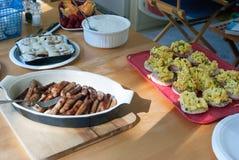 Queque da salsicha e café da manhã do ovo Imagem de Stock Royalty Free