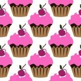 Queque de creme cor-de-rosa com teste padrão sem emenda da cereja Imagem de Stock Royalty Free