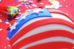 Queque decorado como a bandeira do Estados Unidos Fotos de Stock Royalty Free