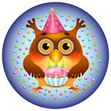 Queque do aniversário da coruja Imagens de Stock Royalty Free