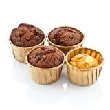 Queque do chocolate com forquilha Imagens de Stock