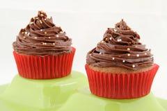 Queque do chocolate com forquilha Imagem de Stock Royalty Free