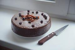 Queque do chocolate com forquilha Fotografia de Stock