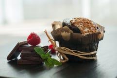 Queque do chocolate com framboesas imagens de stock