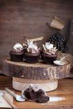 Queque do chocolate das felicitações com marshmallow Imagem de Stock