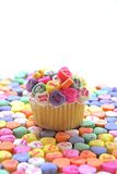 Queque do coração dos doces Fotografia de Stock Royalty Free