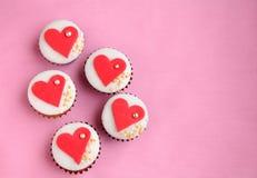 Queque do dia de Valentim Imagens de Stock
