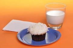 Queque e leite fotografia de stock