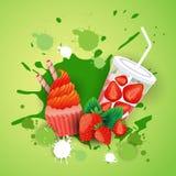 Queque fresco com alimento delicioso da sobremesa de Logo Cake Sweet Beautiful Cupcake do cocktail ilustração royalty free