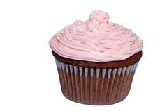 Queque isolado do chocolate com geada cor-de-rosa Imagem de Stock