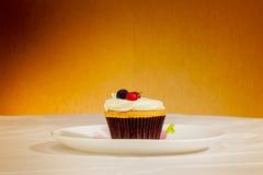 Queque saboroso com frutos no fundo amarelo Fotos de Stock Royalty Free