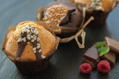Queque três com framboesas e chocolate fotografia de stock royalty free