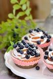 Queques caseiros com crosta de gelo e mirtilos Fotografia de Stock Royalty Free