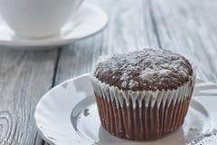 Queques caseiros do chocolate com açúcar e café pulverizados Fotografia de Stock Royalty Free