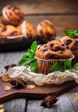 Queques caseiros dos pedaços de chocolate para o café da manhã Fotografia de Stock Royalty Free