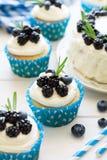 Queques caseiros e bolo com geada, mirtilos, amoras-pretas e folhas dos alecrins Imagens de Stock Royalty Free