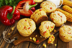 Queques com milho e paprika Fotografia de Stock Royalty Free