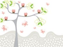 Queques cor-de-rosa bonitos em uma árvore ilustração do vetor