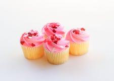 Queques cor-de-rosa da baunilha Imagem de Stock