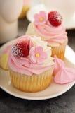 Queques cor-de-rosa da baunilha e da framboesa Fotografia de Stock
