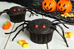 Queques da aranha de Dia das Bruxas com os doces no fundo de madeira imagem de stock royalty free