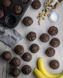 Queques da banana do chocolate Imagem de Stock